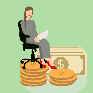אישה עם דף וכסף